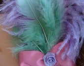 Pastel Feather Hair Comb with Bow and Rosette