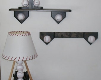 Baseball bedroom collection, includes lamp, shelf, coat hook, bookends.