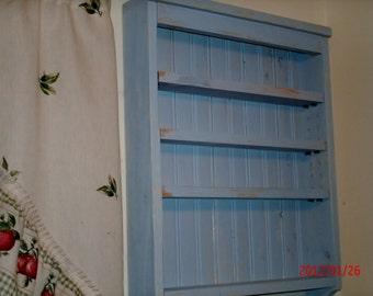 Rustic Blue Spice rack, shelf.