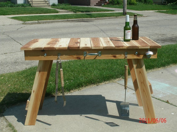 Grilling Table, great for camping, tailgating or barbecuing. Solid Wood