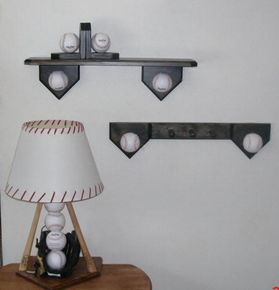 Baseball Bedroom Collection Includes Lamp Shelf Coat Hook