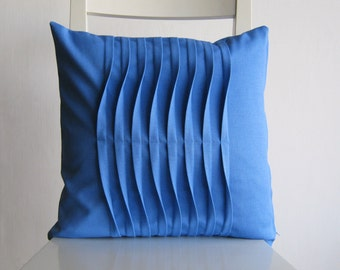 Pleated  Light Blue 16 X 16 Cotton Cusion Cover