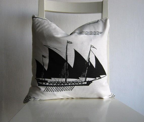 Sail Boat - 16x16  pillow cover