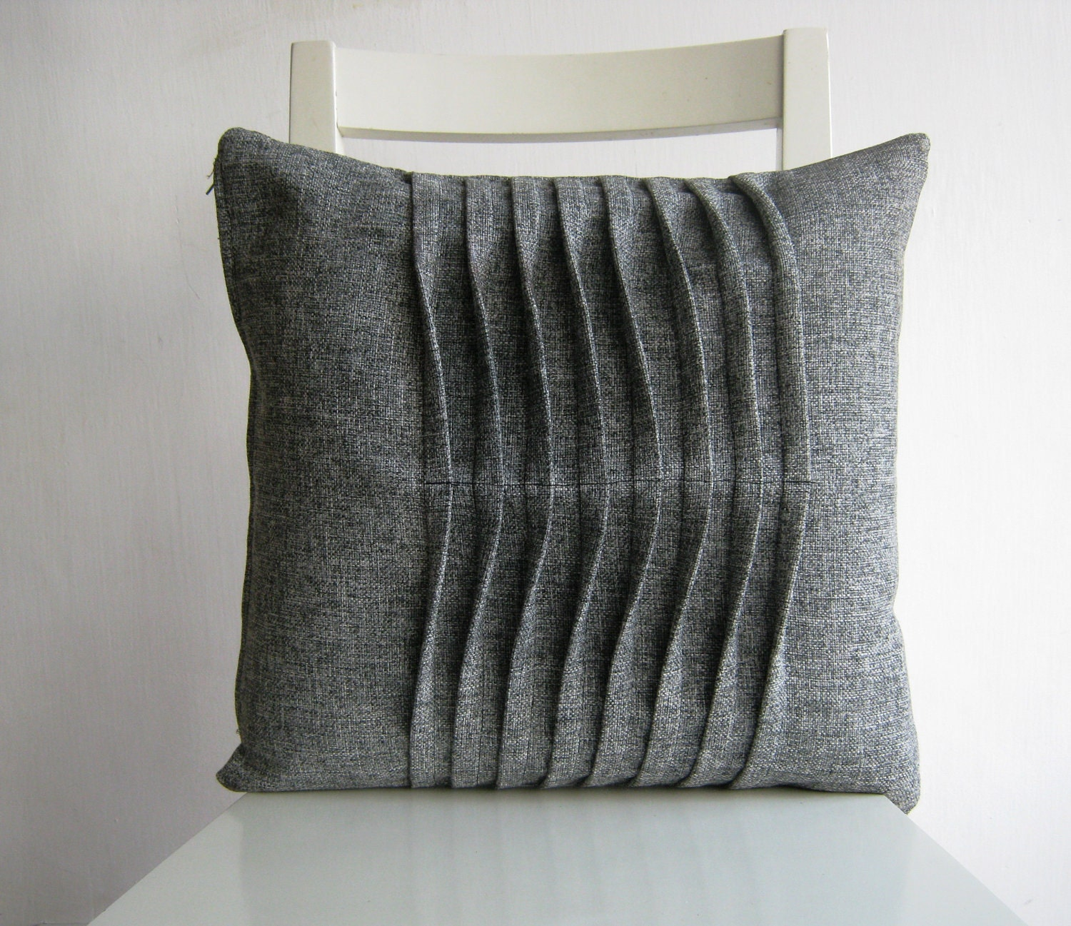 pleated grey gray 16 x 16 cushion cover. Black Bedroom Furniture Sets. Home Design Ideas