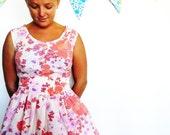 custom tea dress in vintage fabric