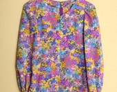Vintage Bright Graphic Floral Print Dress Size XS