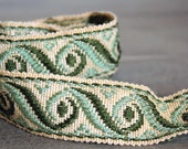 Vintage french green and beige silk brocade ribbon