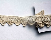 French vintage trim cream hand crocheted and scalloped edging trimming