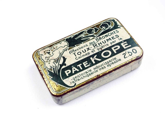 antique apothecary box - french tin box - medicine tin box - green, cream and golden hinged lid box