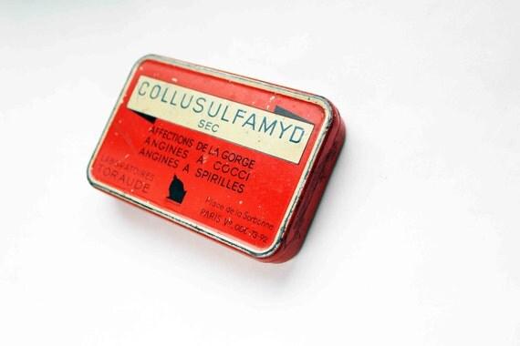 French apothecary tin box - red medicine rectangular box - hinged lid