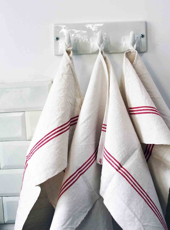 french antique tea towel - red stripes heavy linen - traditional french rustic kitchen decor