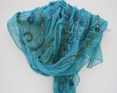 Nuno Felted Silk Scarf - Peacock Aqua Iridescent Silk Chiffon with Blue and Green Hued Accents
