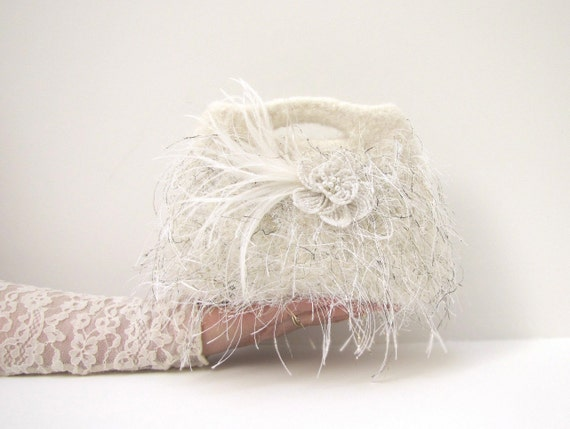 Ivory and White Clutch -  Feathers - Wedding Clutch - Weddings - Bridal Accessories