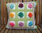 Granny Square Flower cushion 'Spring' - LaExtranjeraCreativa