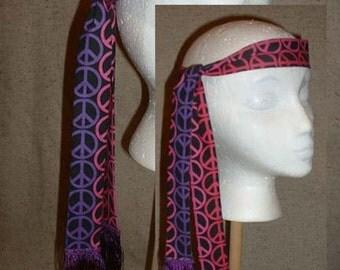 A072    Headband  Groovy Peace Sign Hippie Headband 3  Ready To Ship