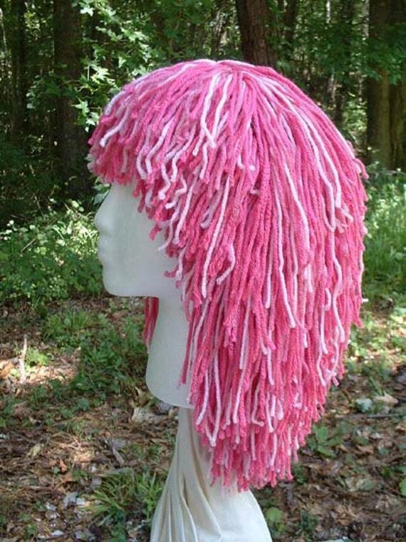 """B104    Yarn Wig  Awesome """"Pretty 'N Pinks""""   Medium Shag Yarn Wig"""