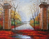 Original Oil Painting Palette Knife MADE to ORDER Textured Park Gates Foggy Rainy Walk Alley Handmade home large decor ART by Marchella