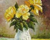 MADE to ORDER Oil Painting Handmade Original PAlette Knife Colorful Rose Bouquet Arangement Vase Floral Romantic home decor ART by Marchella
