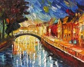 Oil Painting Original Made To ORDER Palette Knife Texture HUGE handmade Cityscape home decor  Night Town Rainy Water Bridge ART by Marchella