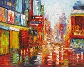 ORIGINAL Oil Painting Morning Full of Life 40x30 Cityscape Colorful Red Purple Rain Reflection Street Textured Big ART by Marchella