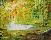 Original MADE to ORDER Oil Painting handmade decor Palette Knife Texture Yellow Green Autumn Fall Tree Park Colorful Rain ART by Marchella