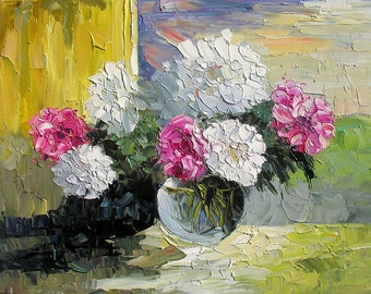 Original Made to ORDER painting Oil Flowers Palette knife Still Life Peony White Pink Handmade Home decor office Vase wall ART by Marchella
