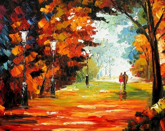 Original Oil Painting MADE to ORDER Knife Colorful Landscape Park Trees Red Path Couple Handmade Home decor office sun wall ART by Marchella