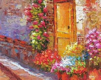 MADE to ORDER Original Oil Painting Palette Knife Textured Street Door Flowers Sun Handmade Home office decor colourful ART by MArchella