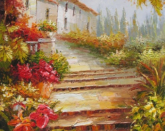 Original Oil Painting Palette knife Town Steps Villa Italian Handmade decor big MADE to ORDER Colorful Flowers Sunny Bright ART by Marchella