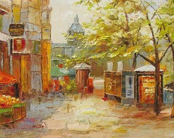 MADE2ORDER Original Oil Painting Palette Knife Textured French home Cityscape Street Trees Afternoon Market Stand Handmade ART by Marchella