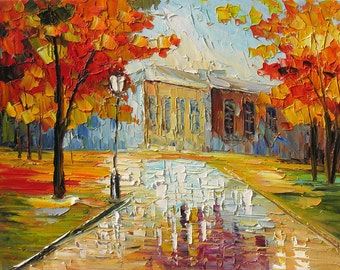 ORIGINAL Oil Painting Palette Knife on canvas impasto Colorful Landscape painting Park Trees Red Orange Fall Reflection Textured Marchella