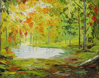 o Print on canvas Fine art Yellow Green Autumn Fall Wall art original oil painting Tree Park Colorful Water Rain Home decor ART by Marchella