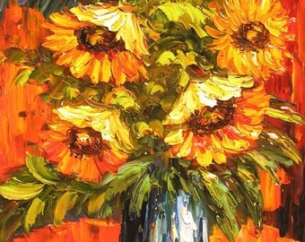 Original Oil Painting Palette Knife Yellow Sunflowers Vase Bouquet Texture Handmade wall Colourful MADE2ORDER Golden Orange ART by Marchella