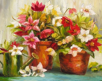 Original Oil Painting Spring MADE to ORDER Palette Knife Colorful Flowers Pink Red Pots Texture Romantic big White Handmade ART by Marchella