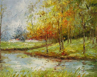 Original Oil Painting Autumn Palette Knife Landscape Textured MADE to ORDER Colourful Park Rain Reflections Fall Tree Alley ART by Marchella