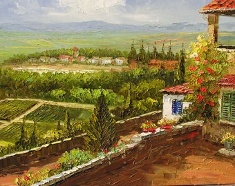 PRINT on Canvas of Original Landscape Painting By Marchella Italian Village Sunny Hill Countryside Field Wall Art Modern