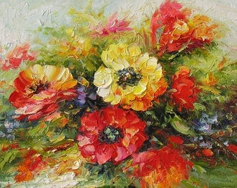 Original Oil Painting Palette Knife Textured Flowers Red Yellow Green Blue Big Colourful Handmade wall decor MADE to ORDER ART by Marchella