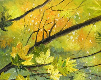 ORIGINAL Oil Painting Fantasy Forest 40 x 30 Palette Knife Colorful Big Green Yellow Tree Branches Leaf ART by Marchella