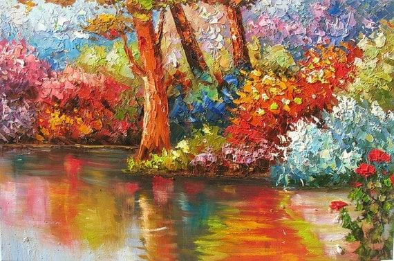 Water Reflections 20 x 30 Original Oil Painting Knife Colorful Trees Park Water Lake Bright Reflections by Marchella