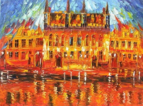 ORIGINAL Oil Painting on canvas Cityscape painitng impasto Colorful Red tones Reflection Textured painitng Huge ready to hang ART Marchella