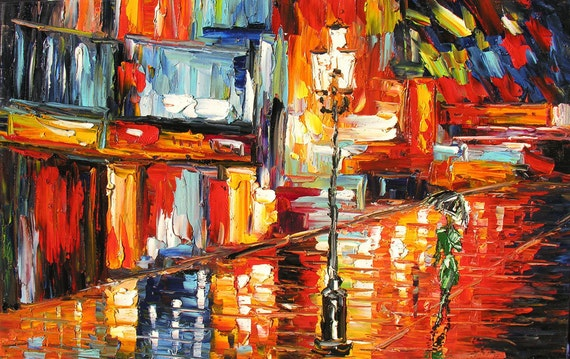 MADE2ORDER Original Oil Painting Palette Knife Cityscape Handmade home decor Red Night Town Building Reflection Rain Couple ART by Marchella
