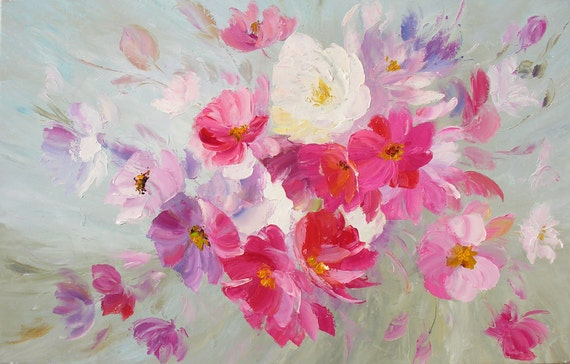 ORIGINAL Oil Painting Dream 23 x 36 Palette Knife Colorful Flowers White Romantic Pink Modern Textured Floral Petals Purple by Marchella