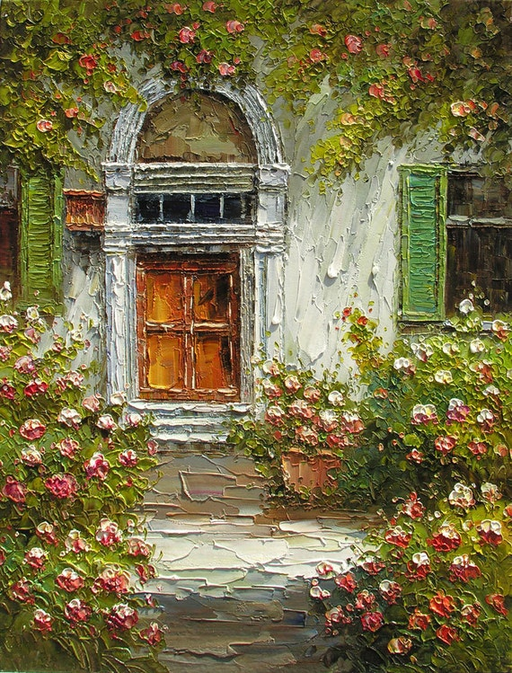 Original Oil MADE to ORDER Painting Knife Texture Flowers Sunny Village Door Colorful Haqndmade Office Home decor rose bush ART by Marchella