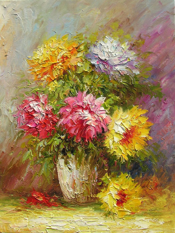 ORIGINAL Oil Painting Flower Burst 23 x 30 Palette Knife Colorful Flowers Pink Yellow Textured Romantic Floral Vase ART by Marchella