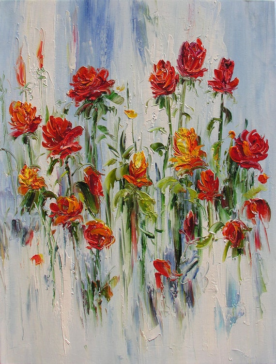ORIGINAL Oil Painting Roses Before The Rain 23 x 30 Colorful Flowers Red Roses Rain Palette Knife Texture White Abstract   ART by Marchella