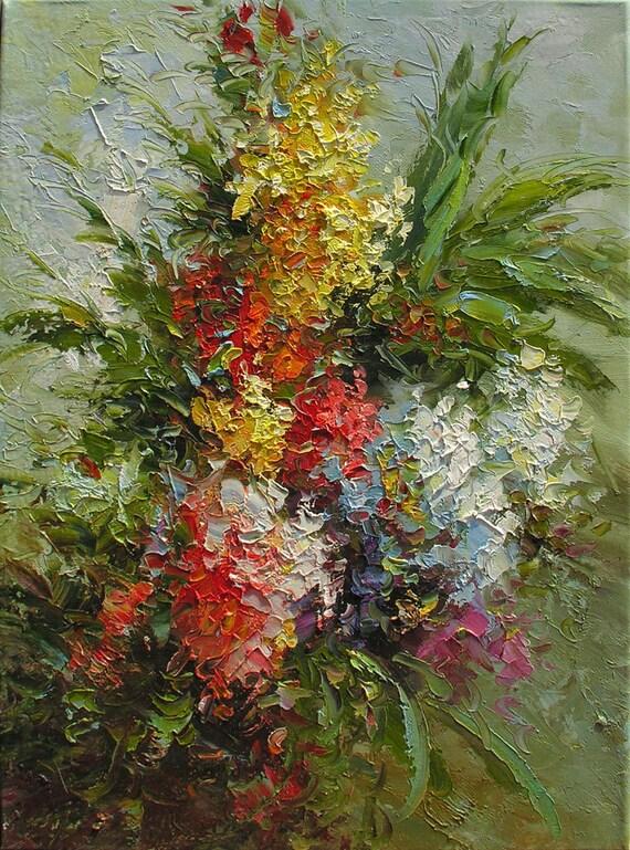 Original Oil Painting Spring Fantasy 18 X 24 Flowers Palette