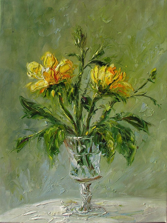 ORIGINAL MADE2ORDER Oil Painting Palette Knife Yellow Roses Bouquet Textured Handmade wall decor Flowers Still life Vase Art by Marchella