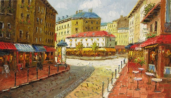 ORIGINAL Oil Painting Golden Boulevard 40 x 23 French Village Street Bistro Caffe Sunny  Palette Knife Colorful Sky  ARTby Marchella