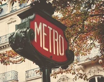 Paris Photography-Metro Sign- Travel Photography- Home and Nursery Decor