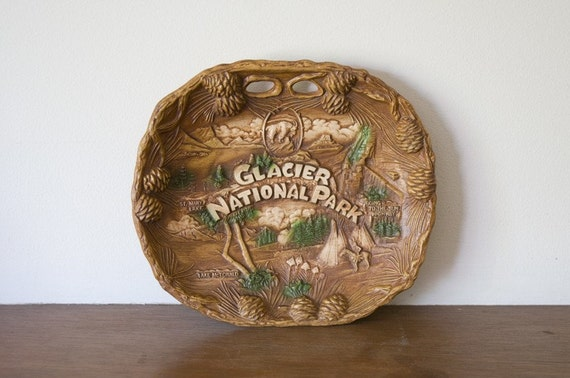 Glacier National Park - Vintage Nut Cracker Platter - Sale Sale Sale